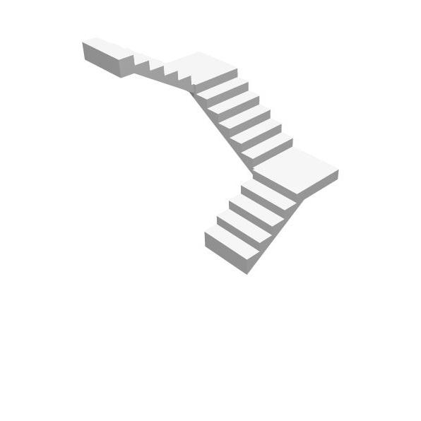 П-образная бетонная лестница 1 этаж (одноэтажная) МОНОЛИТМАСТЕР