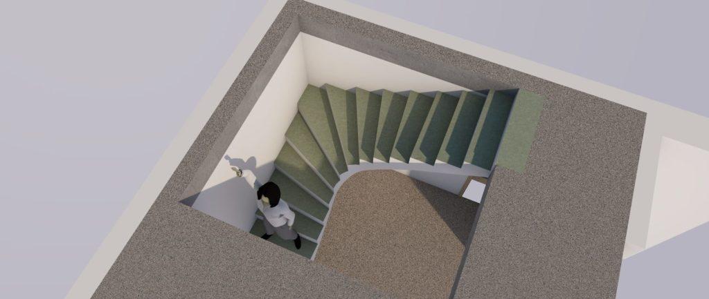 Бесплатный 3D-проект бетонной лестницы (вид сверху) МОНОЛИТМАСТЕР